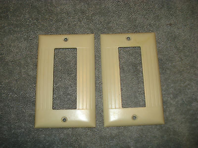 VINTAGE  set of SIERRA Ivory Triplex Art Deco Cover plates .