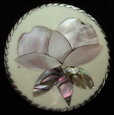 vintage PIN BROOCH Pendant MEXICO flora flower MOP Alpaca Abalone Mother-o-pearl