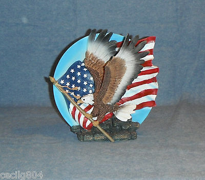 Bald Eagle Figurine Carrying An American Flag In Its Tallons Collector Plate