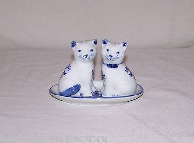 3 Piece Porcelain Cat Salt And Pepper Shaker Set