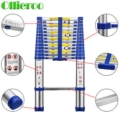 13.5FT EN131 Aluminum Telescopic Extension Ladder with Spring loaded Lock Blue
