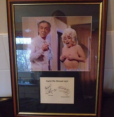 Barbara Windsor and Sid James Signed A4 Print from Carry on Abroad 1972