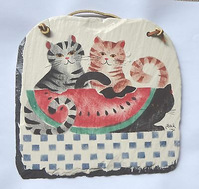 Ceramic Three Cats and Watermelon Wall Hanging Plaque