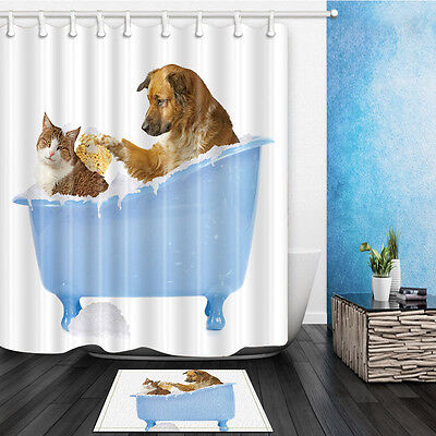 The Cat And Dog A Bath Waterproof Fabric Home Decor Shower Curtain Bathroom Mat
