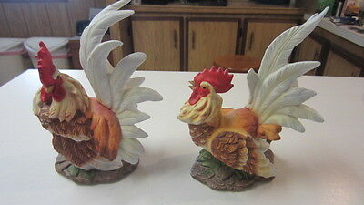 Detailed Hen & Rooster Figurine / Statue Set, 8 1/2 in. Tall