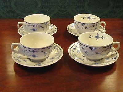 4 EXC Vintage Furnivals Ltd. Blue DENMARK Tea or Coffee Cups and Saucers