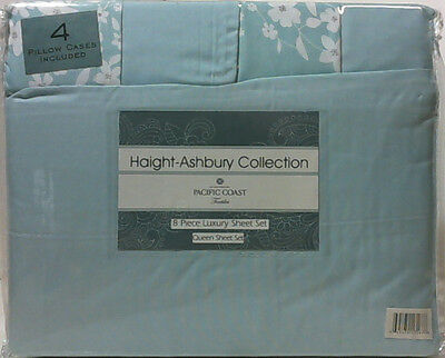 NEW PCT Haight-Ashbury 8pc Printed & Solid Sheet Set Floral Blue Queen $160