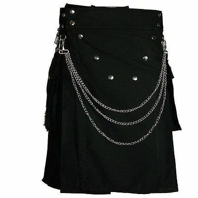 STYLISH MENS BLACK UTILITY KILT WITH CHROME CHAIN( limited offer 22% off)