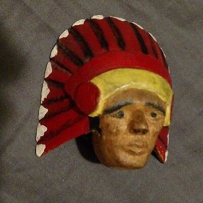 Vintage 1947 Boy Scout BSA Neckerchief Slide Hand carved painted Chief