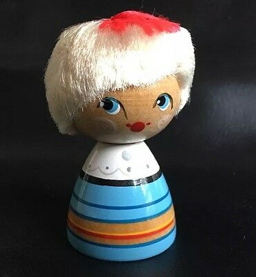 Vtg CHRISTMAS Wooden  RUSSIAN SALVO Doll NOS