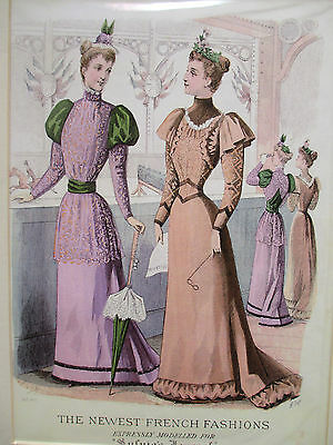 Antique 1892 Sylvia's Home Journal The Newest French Fashions Advertising Print