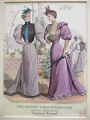 Antique 1892 Sylvias Home Journal The Newest French Fashions Advertising Print