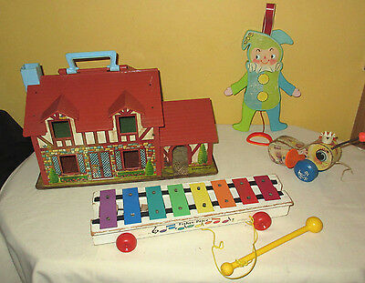 Vintage Fisher Price Toys- Xylophone Jumping Jack Little House Queen Busy Bee