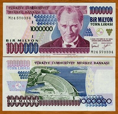Turkey, 1,000,000 (1000000) Lira, L. 1970 (1995) P-209, UNC