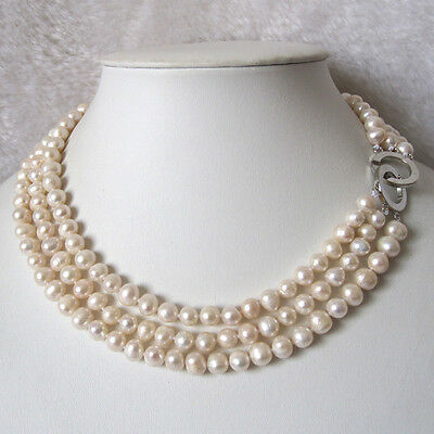 """17-19"""" 7-8mm 3Row White Freshwater Pearl Necklace"""