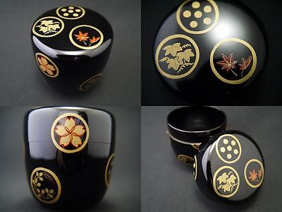 Japan Lacquer Wooden Tea Caddy Black Natsume Round Designed Spring & Autumn (F3)