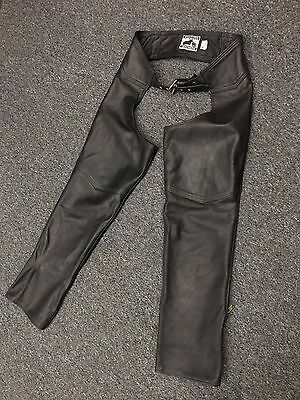 Vintage California Creations Black Leather Motorcycle Biker Chaps Mens L Usa