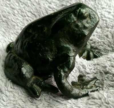 "Iron Frog Paper weight 2.5"" x 3"" original paint"