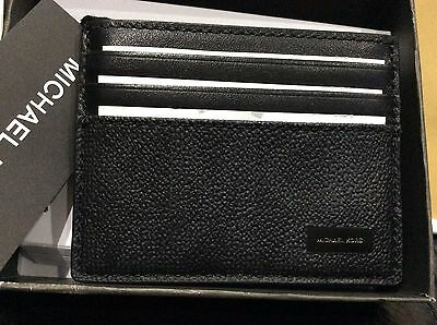 MICHAEL KORS Authentic TALL CARD CASE JET SET MENS Black PVC  ID SLOT  Box