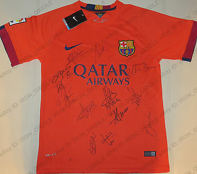 FC BARCELONA team signed by Legends NIKE jersey with PROOF Stoischkov Puyol Boer