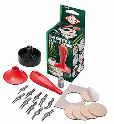 Essdee 3 In 1 Lino Cutter And Stamp Carving Kit (10 Cutters And 5 Carving Stamps