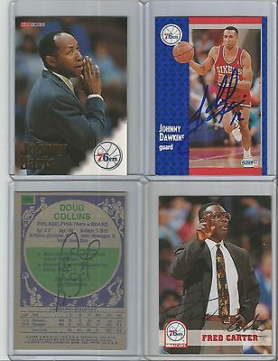 Philadelphia 76ers Autographed Basketball Cards - Lot of 10