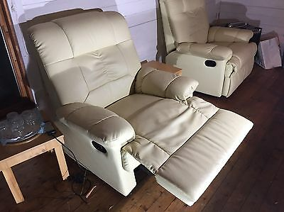 Pair Of Cream Faux Leather Reclining Massage Chairs Excellent Condition
