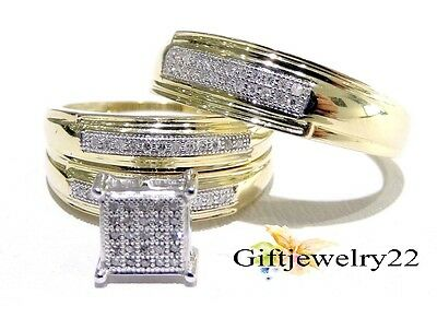 10K Yellow Gold Over His Hers 1.96 Ct Diamond Trio Wedding Engagement Ring Set