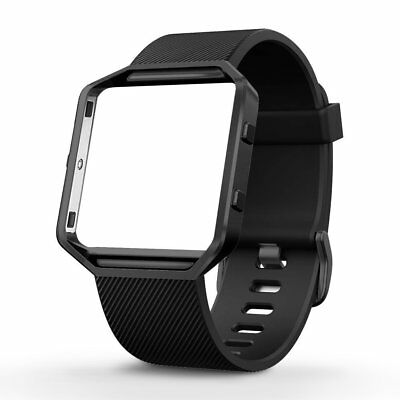 Classic Silicone Replacement Band with Stainless Steel Frame for Fitbit Blaze