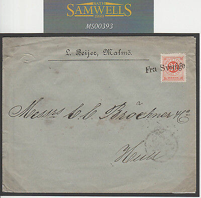 MS00393 1882 SWEDEN MARITIME *Kalmo* Superb *Fra Sverige* Cancel Cover GB Hull
