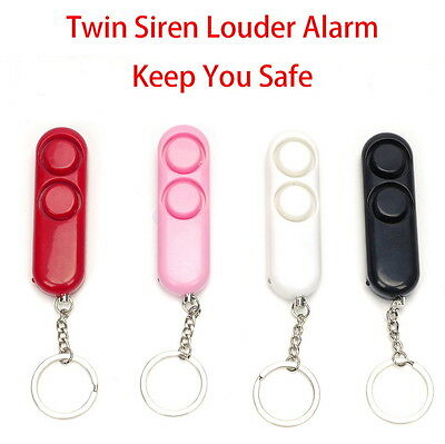 Twin Siren Personal Alarm Rape Attack Panic Safety Security Loud LED Keyring