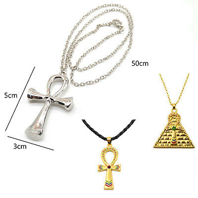 Egyptian Pyramid Ankh Cross Pendants Necklace Charm Gold Silver Plated Jewelry D