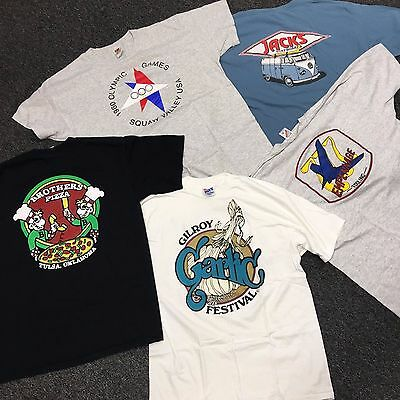 (Lot of 5) Vintage Graphic Tshirts Jacks Surfboards Pizza Gilroy Garlic Size XL