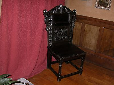 Superb  Oak Wainscot Chair In 17Th Century Style