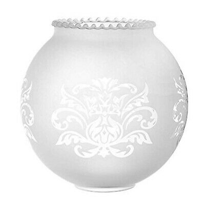 Crowned Etched Frosted Glass Lampshade (retro bola sphere ball round floral)