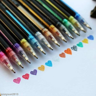 HOT 12 Color Gel Pen Set Color Art Glitter Pens Neon Coloring Ink Painting Craft