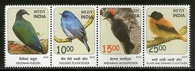 India 2016 Birds Near Threatned Pigeo Flycatcher Wildlife Fauna 4v Set MNH