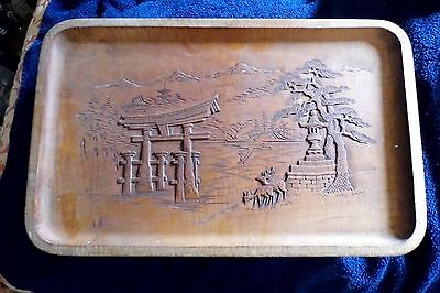 Tray oriental wooden hand carved japanese vintage signed