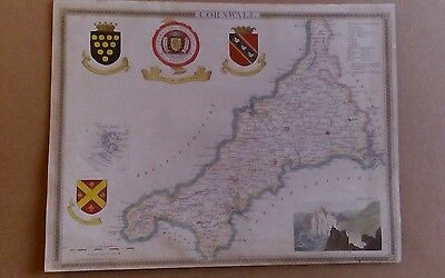 ORIGINAL ANTIQUE MAP OF CORNWALL BY THOMAS MOULE. c. 1850