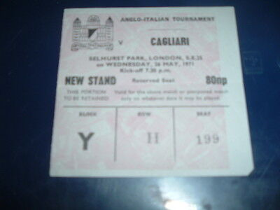 Ticket Crystal Palace v Cagliari May 1971 Anglo Italian Cup