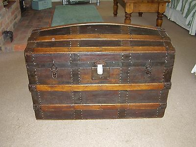 Antique Victorian Wooden Trunk/ Chest --Hump Back