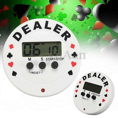 New Round Dealer Button Poker Clock Blind Timer LCD Display Digital Countdown