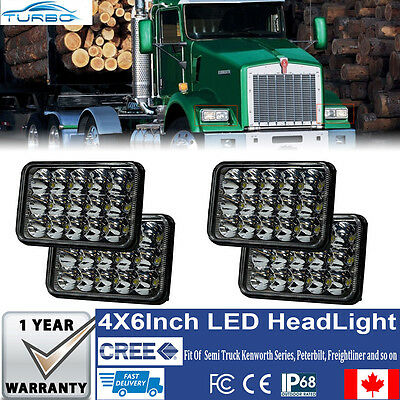 "4x6"" LED Headlights CREE Light Bulbs Crystal Clear Sealed Beam Headlamp Pack (4)"