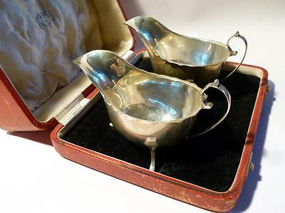 Pair Antique 1936 Silver Sauce Gravy Boats Red Leather Box ELVIN HULL Retail