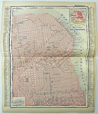 Original 1895 Street Map / Plan of San Francisco by Rand McNally