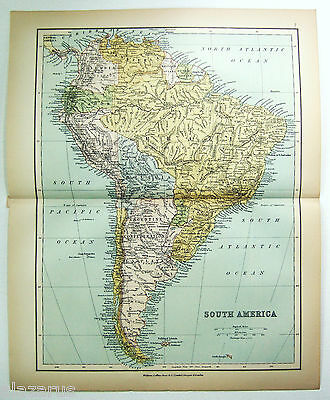 Original Map of South America by Wm Collins Sons & Co. 1875 Chromolithograph