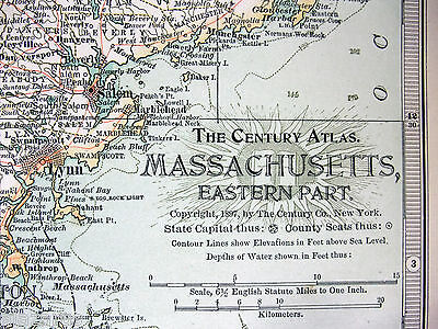 Original 1897 Map of Eastern Massachusetts by The Century Company