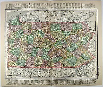 Original 1901 Dated Map of Pennsylvania by Rand McNally