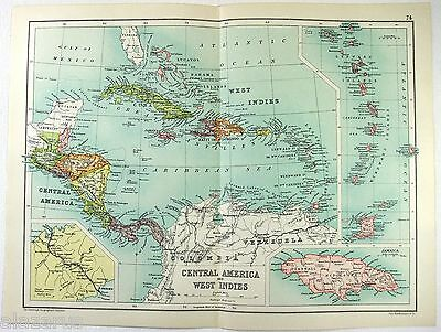 Original 1909 Map of Central America & the West Indies by John Bartholomew