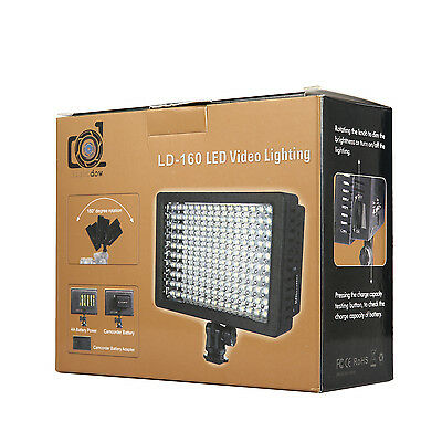 160 LED Video Light 3 Colored Filters Lamp Panel Dimmable For Canon Nikon Camera